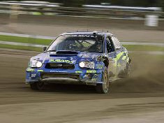 Petter Solberg in action on SS9 during leg one, Rally Finland 2005